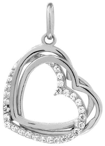 Ce Pendentif CLEOR est en Or 375/1000 Blanc et Oxyde en forme de Cœur