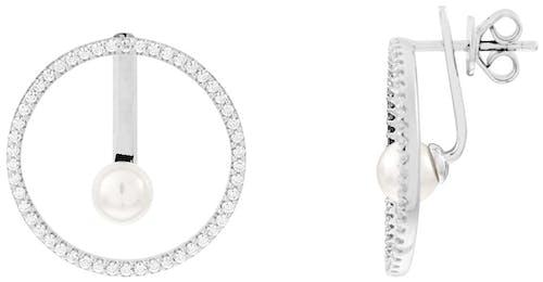Boucles d'oreilles CLEOR en Argent 925/1000 Blanc et Perle Blanc