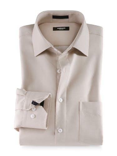 Beiges Hemd aus Leinen mit Manschette und Knopfleiste.