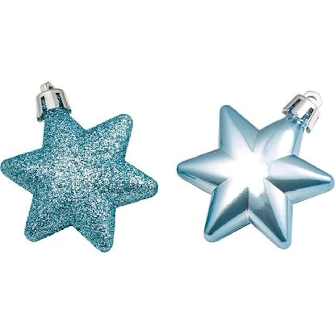 Karácsonyfadísz-készlet csillagok 12 darabos világoskék