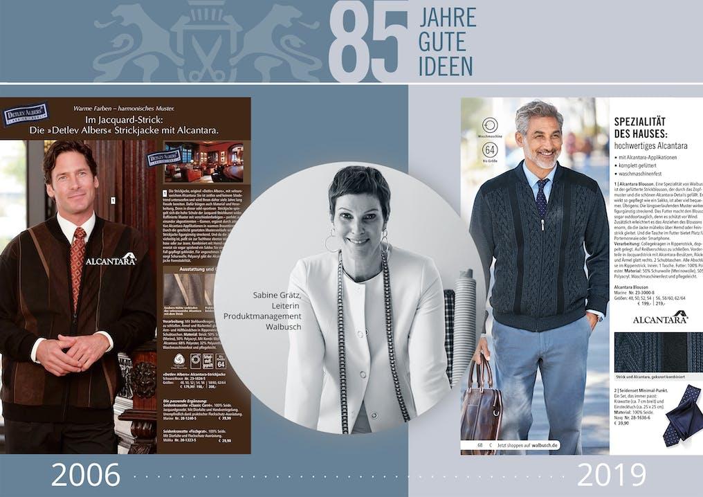 Collage aus drei Bildern. Zwei mit Männern in Strickjacken und eines mit einer lächelnden Frau mit kurzen Haaren.