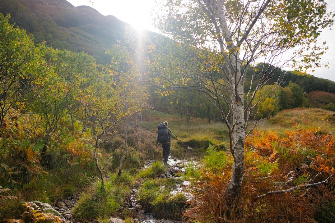 Rückansicht einer Frau, die in bergiger Landschaft durch einen Bach läuft