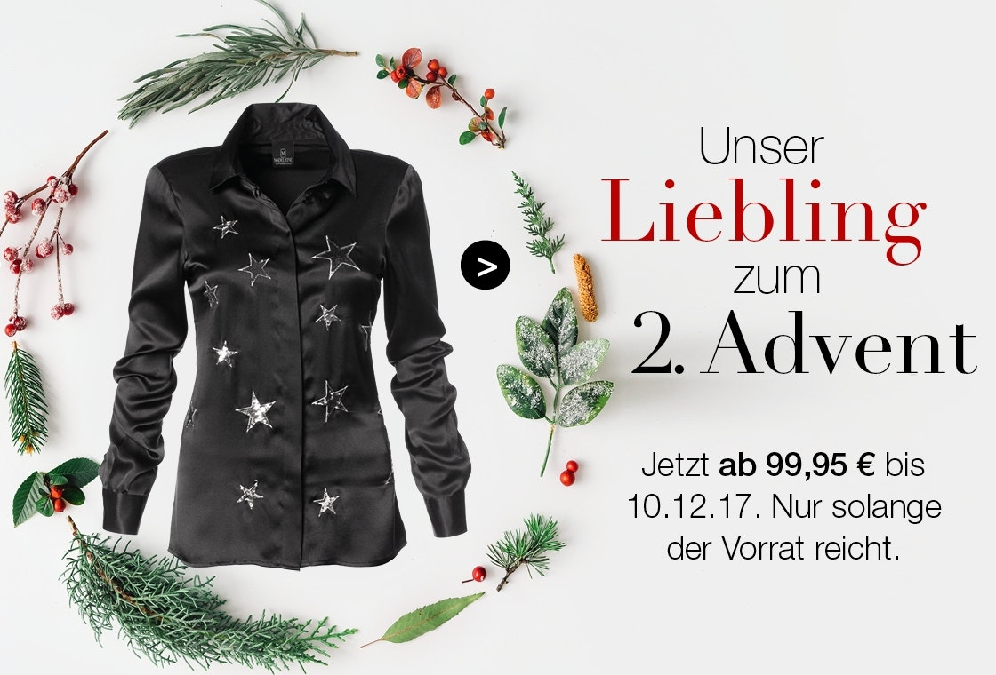 Aktion zum 2. Advent! Satinbluse mit Sternen-Applikation