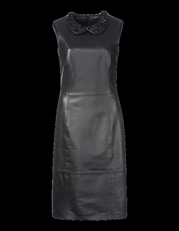 Etui-Kleid aus Leder