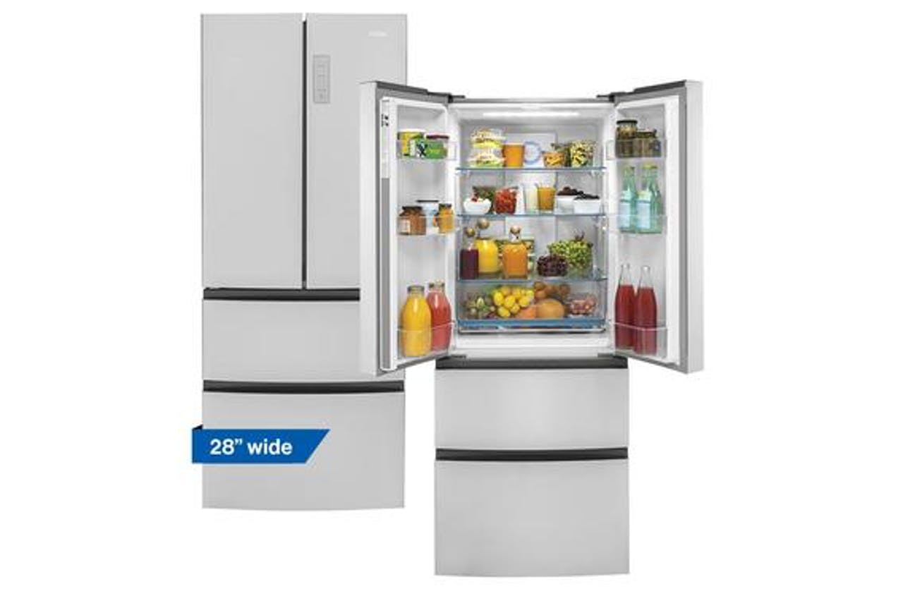 Haier 28 inch stainless steel french door refrigerator pictured open and closed