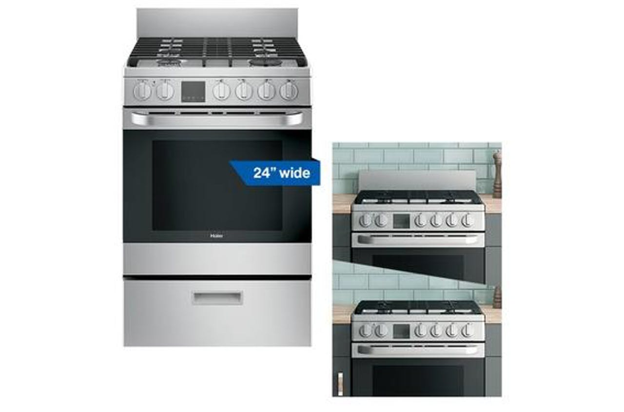 Haier 18 inch stainless steel gas range with modular backguard