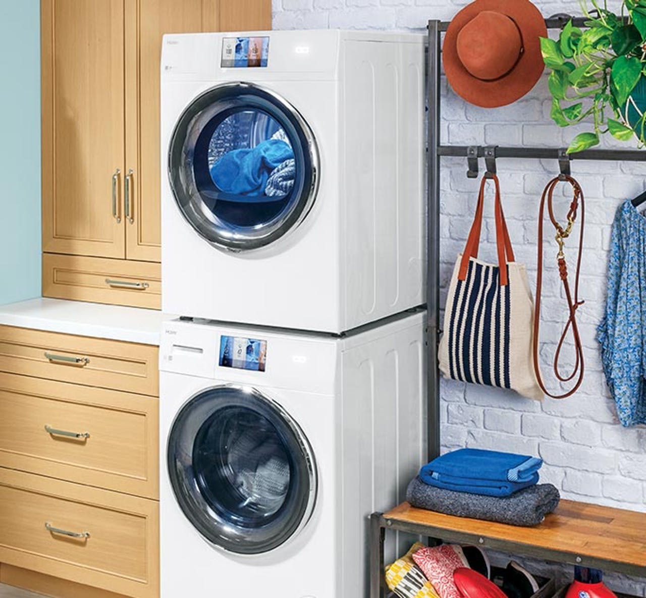Haier stacked front load laundry in mud room