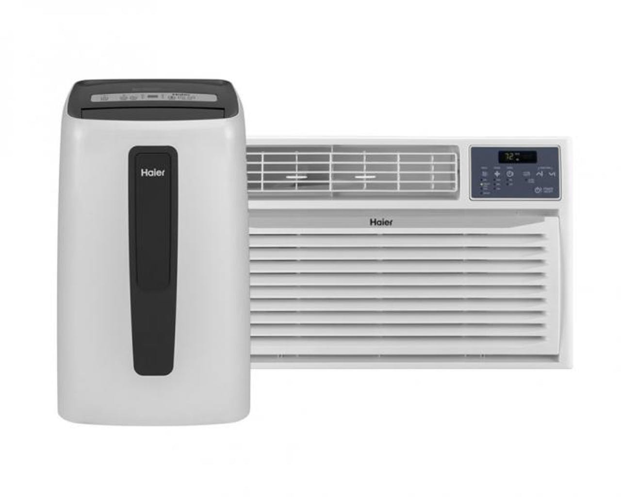 Product support photo of a Haier portable air conditioner and window air conditioner