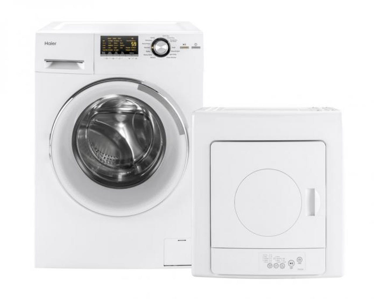 Product support photo of a Haier washer dryer combo and portable electric dryer