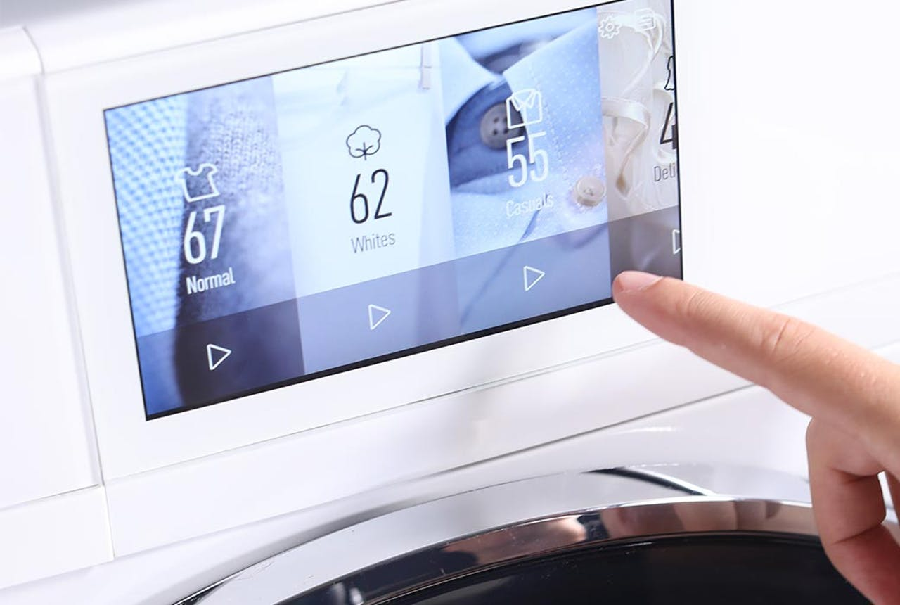 Haier front load laundry LCD touchscreen.
