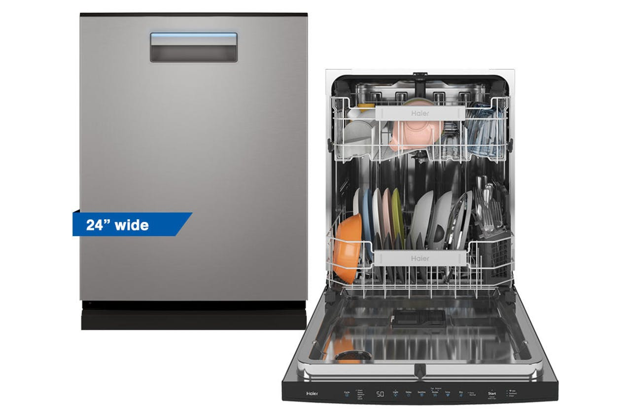 Haier 24 inch stainless steel dishwasher pictured open and closed