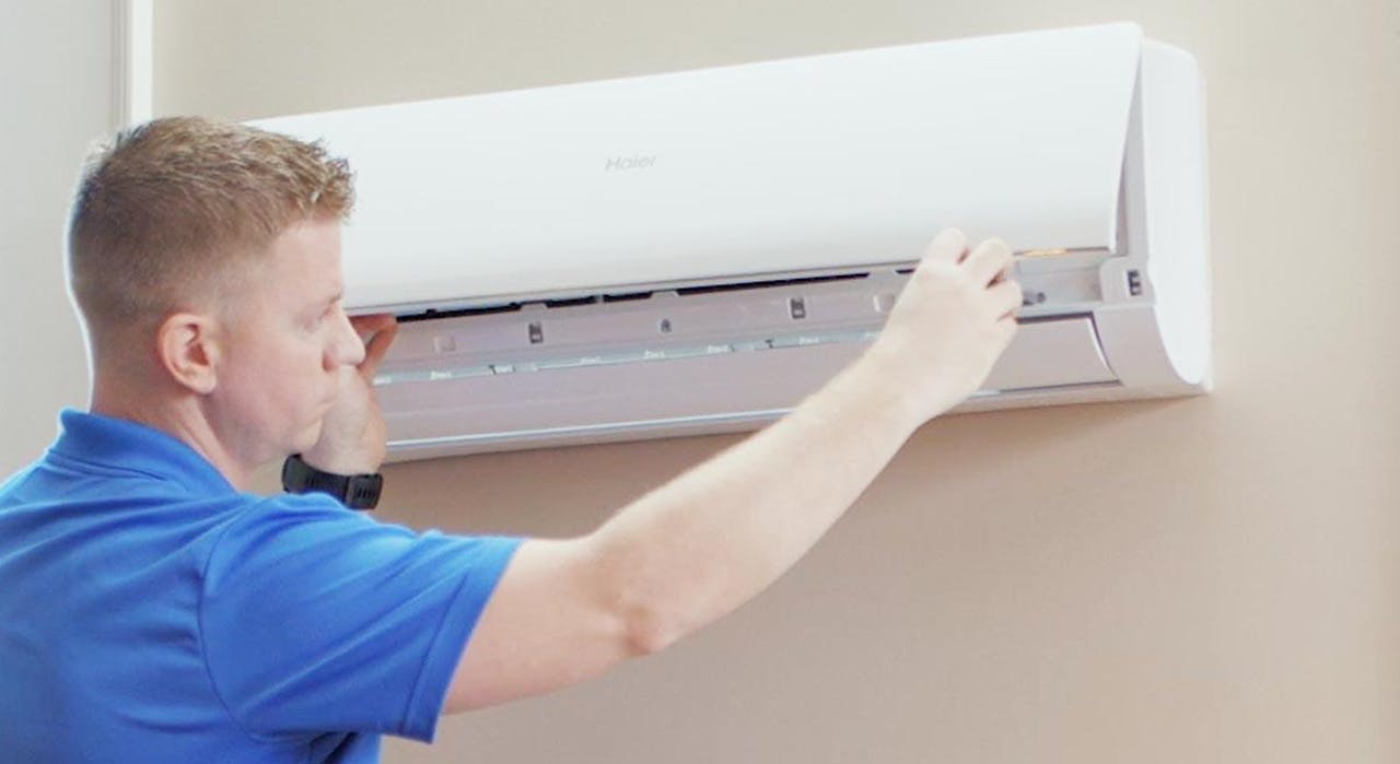 Photo of Haier Ductless AC Wall Unit Being Installed