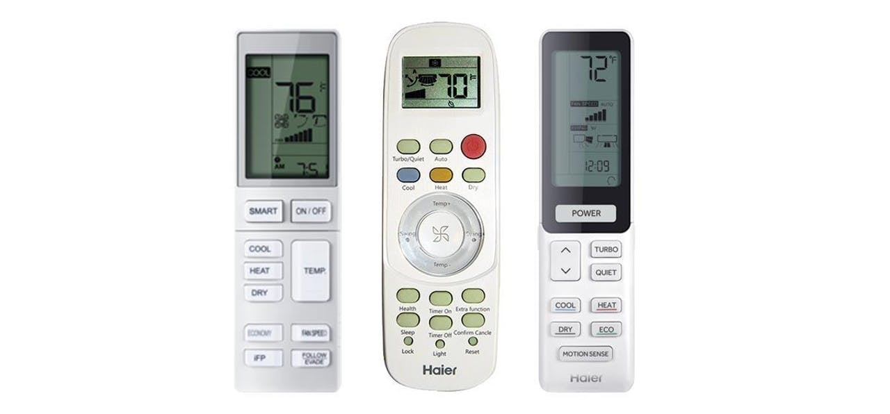Photo of Haier Ductless wireless handheld remote controllers