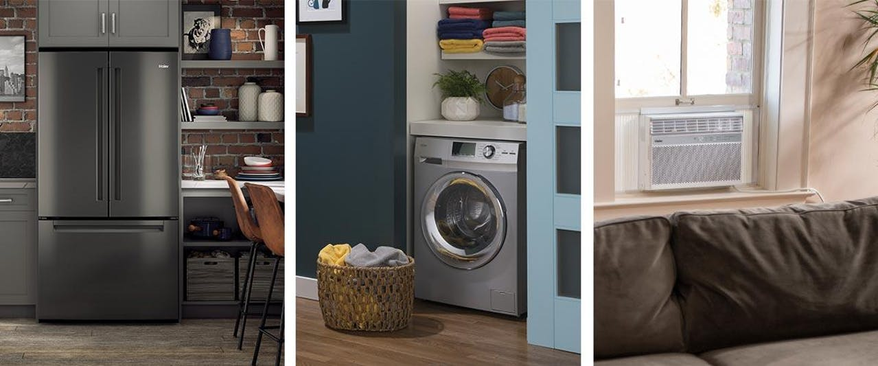 Photo collage of Haier appliance products - kitchen, laundry, room air