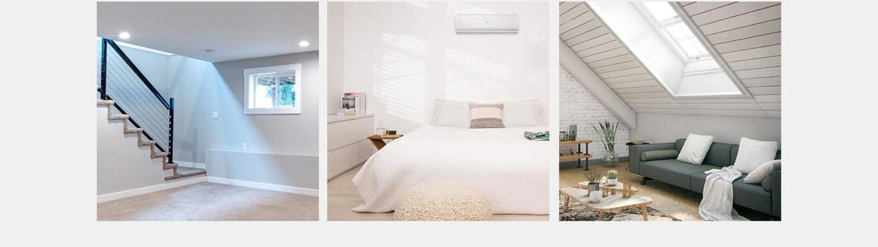 Photo of Haier Ductless AC Single Zone Space Examples - Basement, Bedroom, Attic
