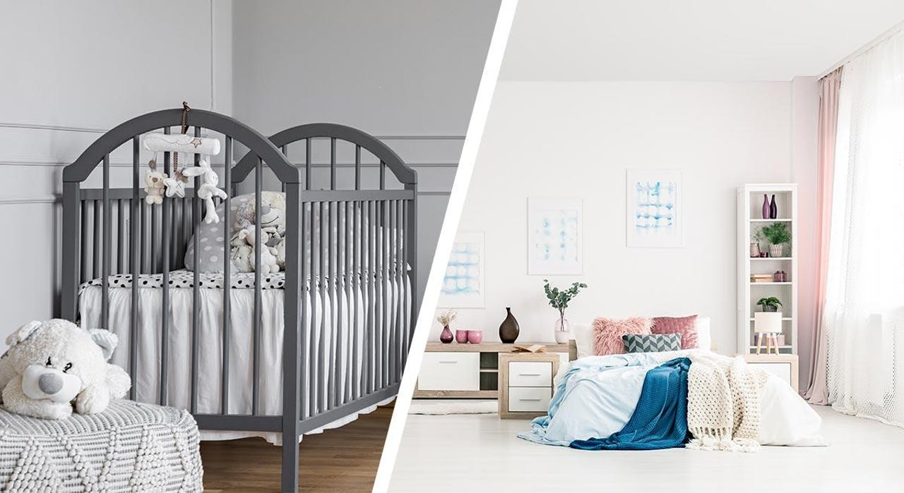 Photo of crib in small sized baby room and bed in large sized bedroom