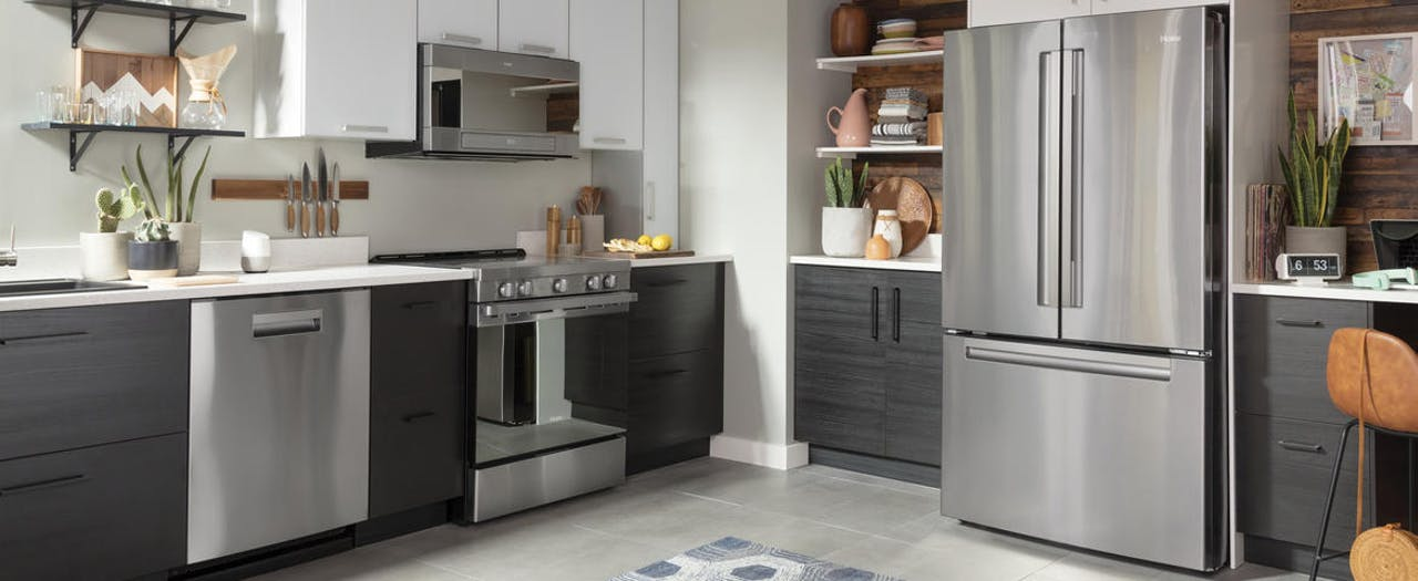 Haier kitchen with full size stainless steel appliances