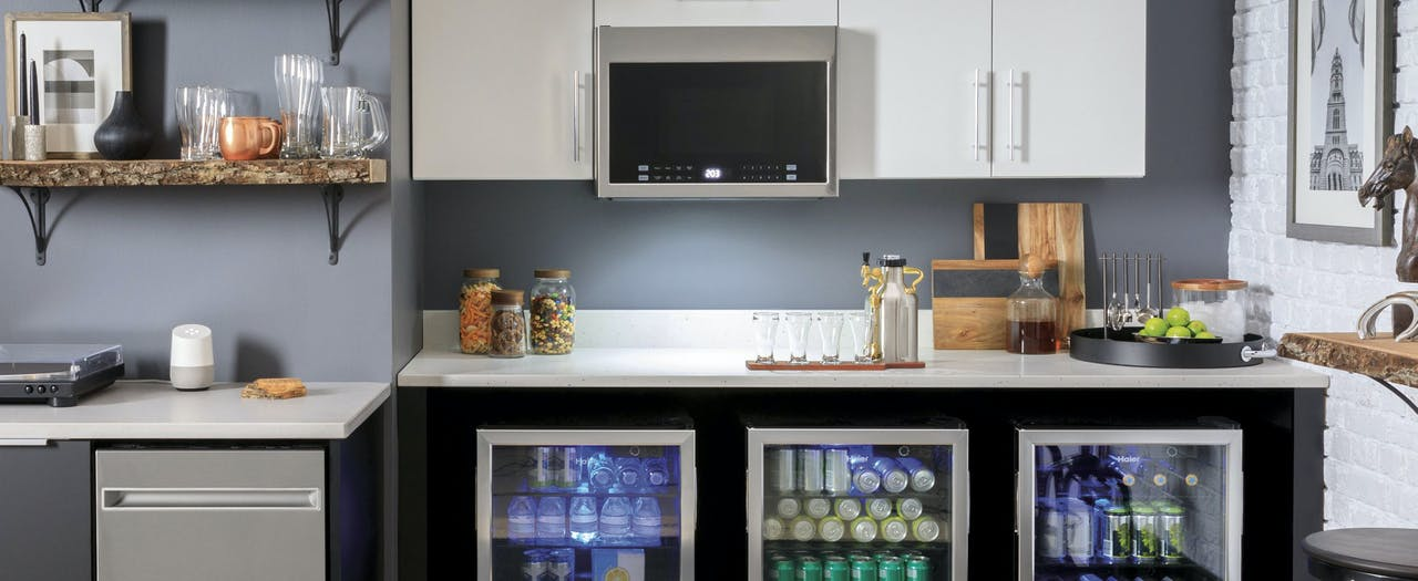 Haier small appliances shown in a man cave