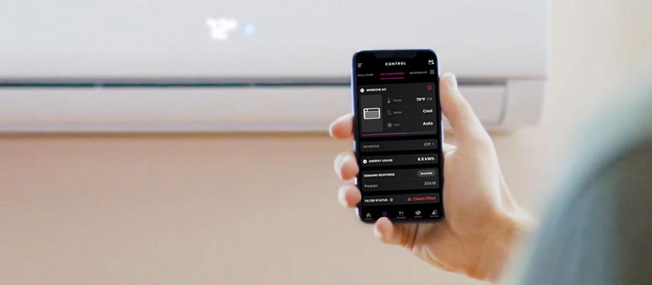 Photo of a Haier ductless wall mount mini split air conditioner wifi control with smartphone app