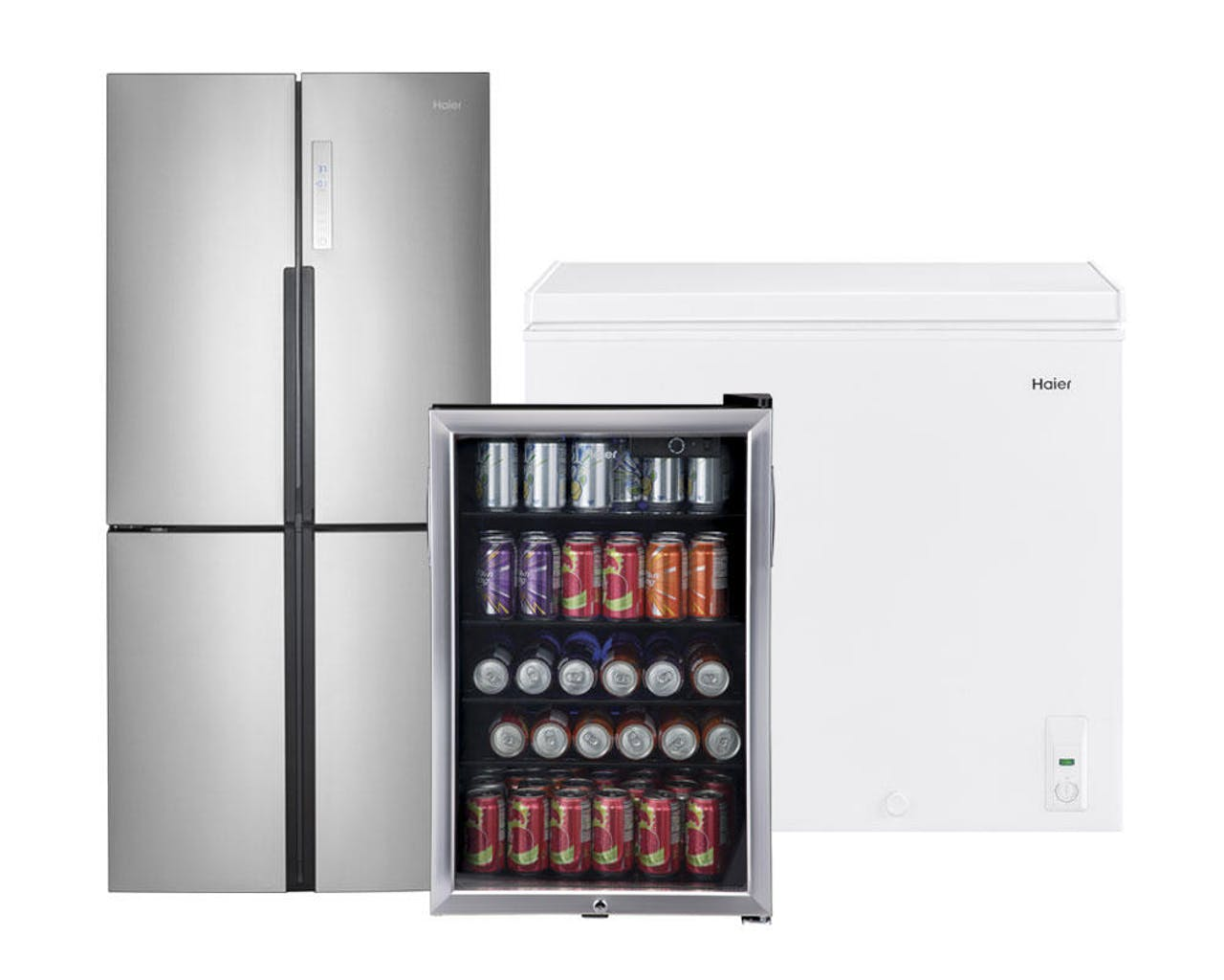 Product support photo of a Haier stainless quad door refrigerator, chest freezer and beverage center