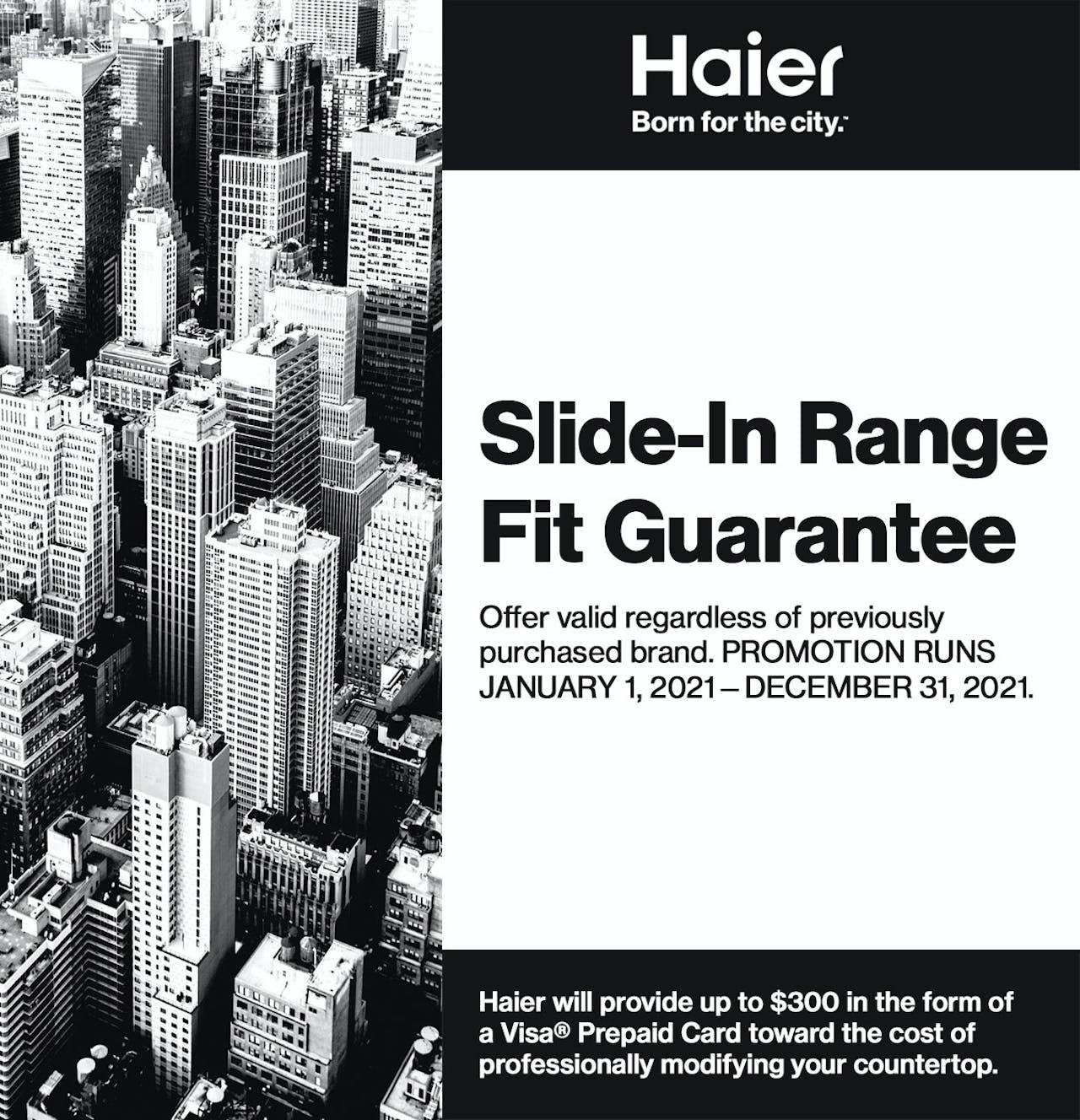 Haier Slide-In Range Fit Guarantee