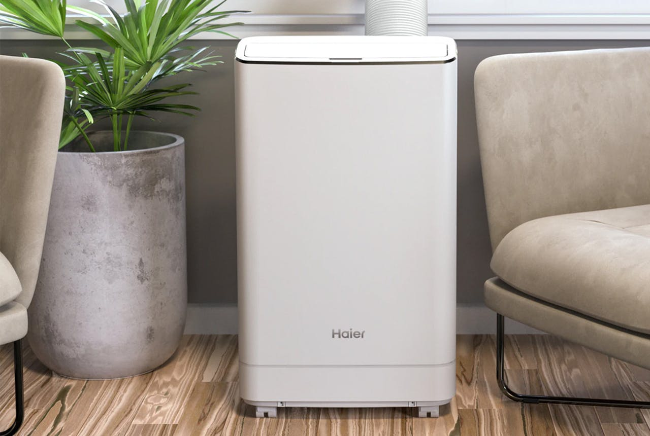 Haier portable air conditioner in room.