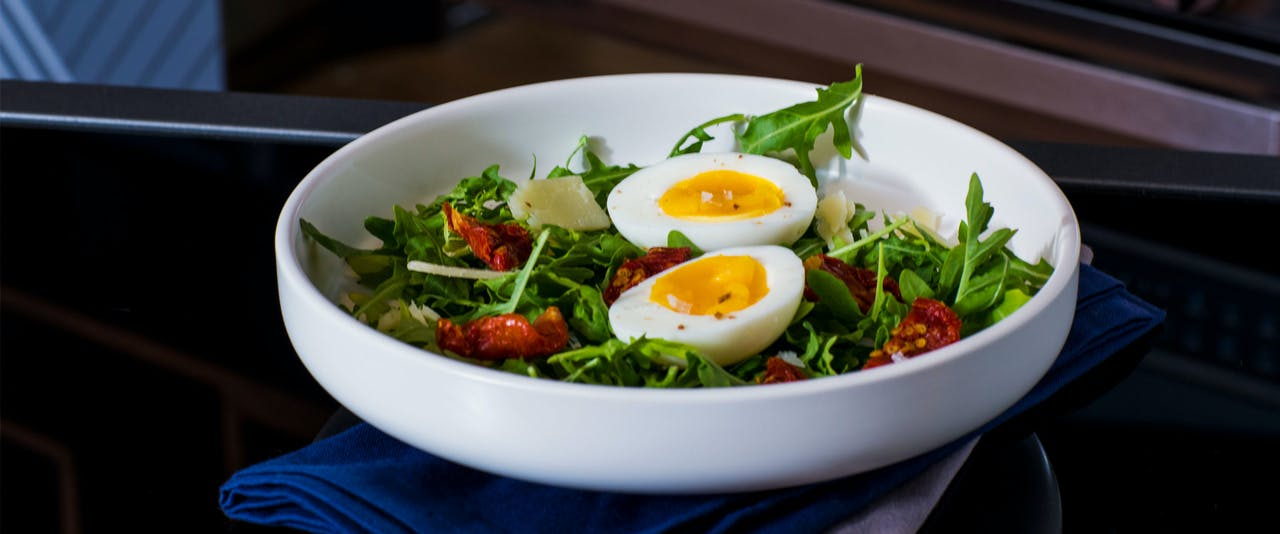 Perfect Boiled Eggs used in a bowl of Jammy Egg Salad