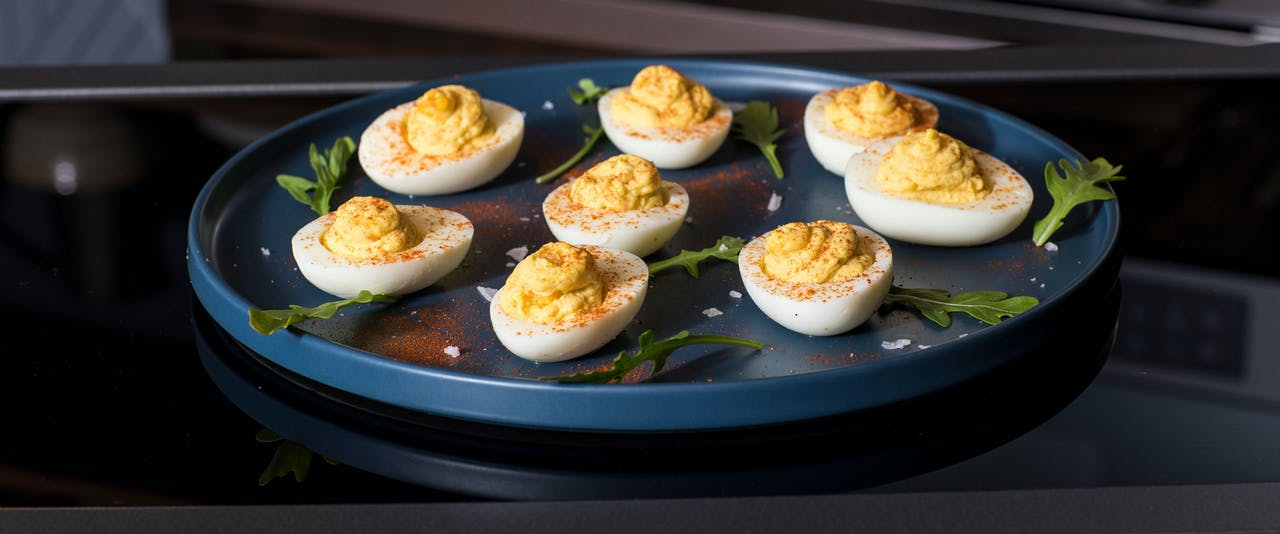 Plate of classic deviled eggs