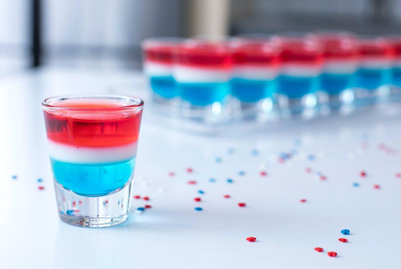 Red, White, and Blue Layered Gelatin Shots