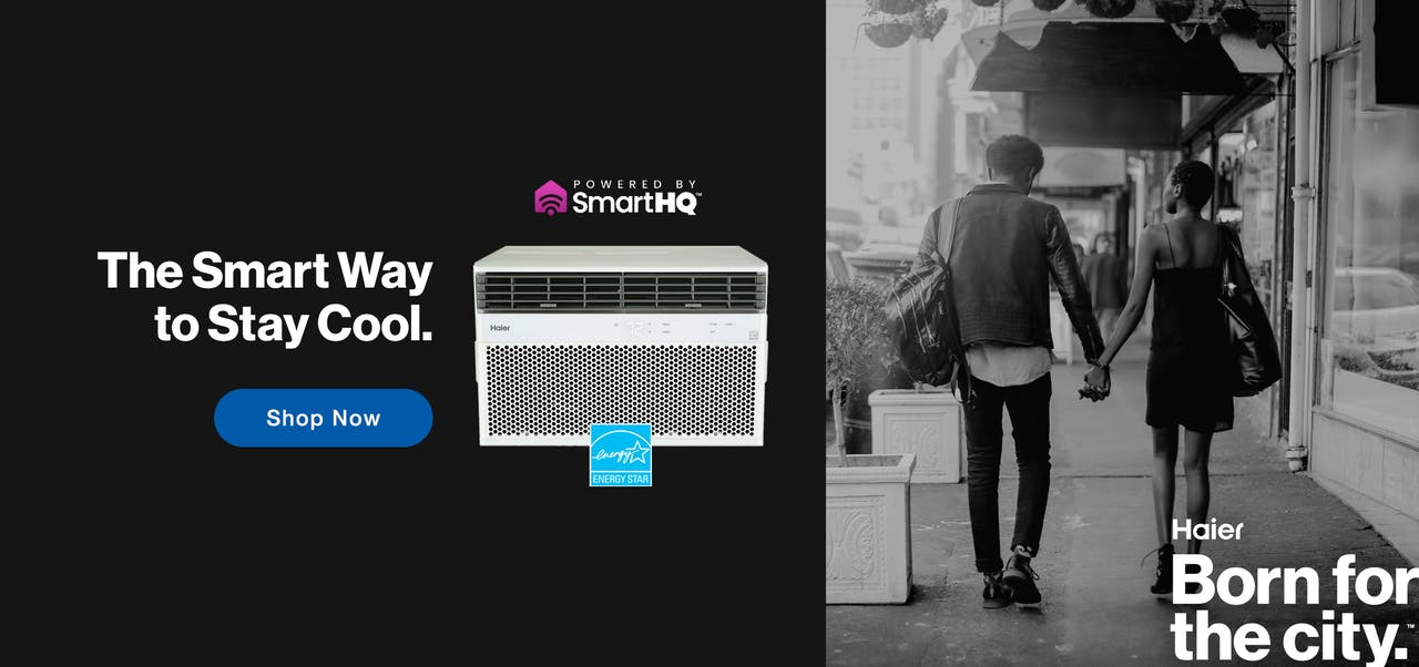 The smart way to stay cool is with a Haier® ENERGY STAR® 8,000 BTU Smart Electronic Window Air Conditioner