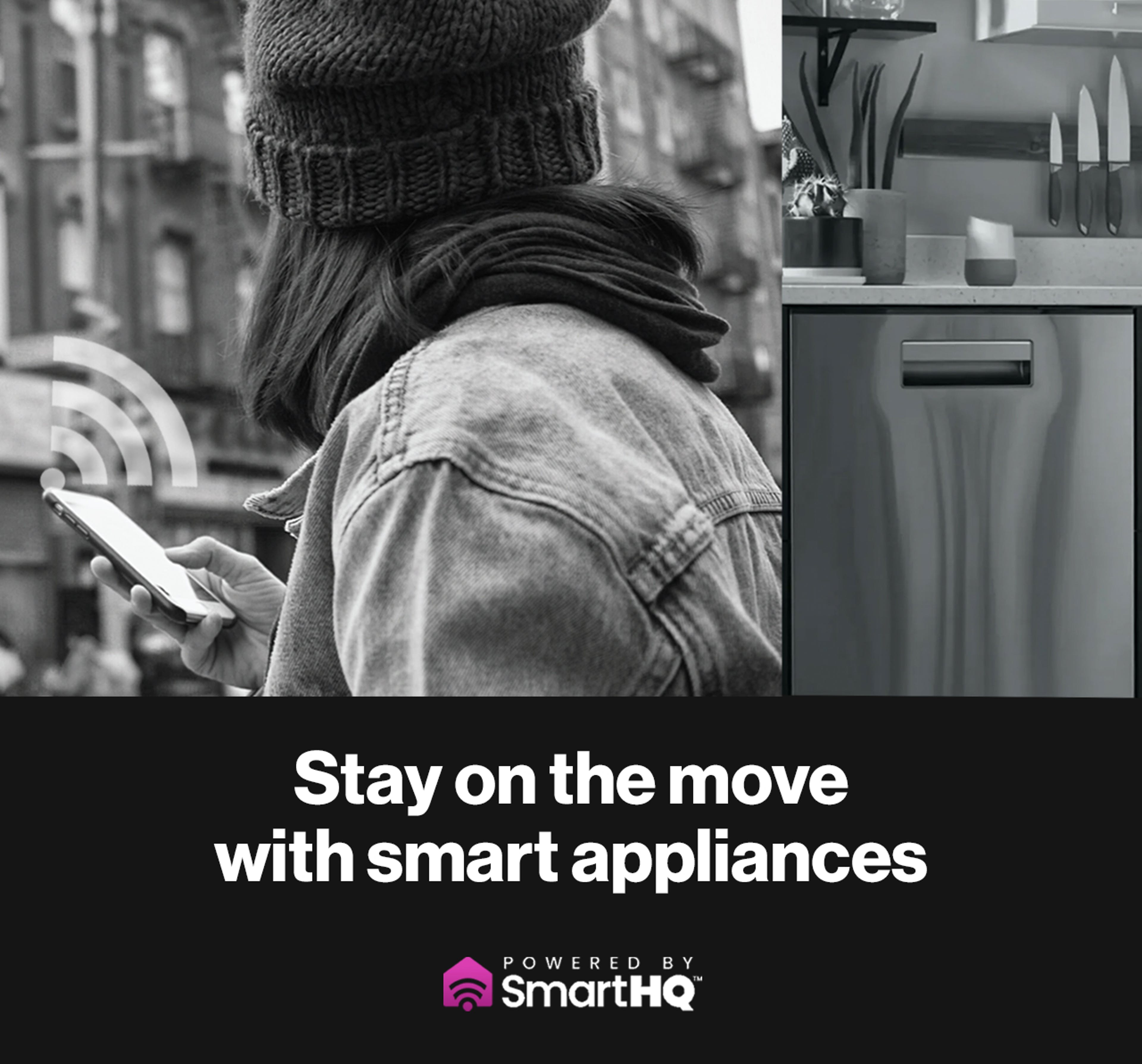 Millennial using the SmartHQ app on her phone to interact with her smart appliance