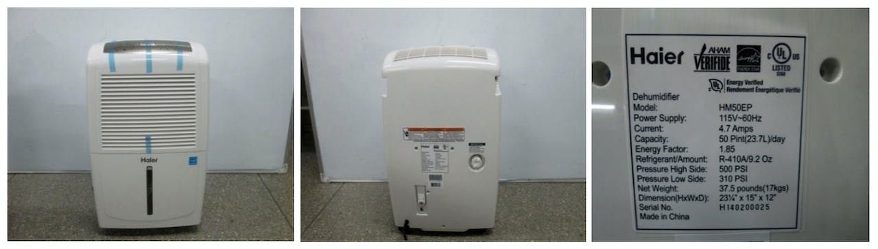 Images showing the dehumidifier front, back and product label