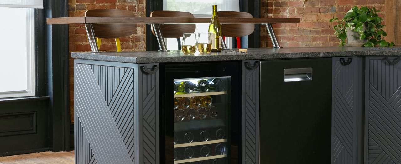 Haier Wine Center built into a modern kitchen