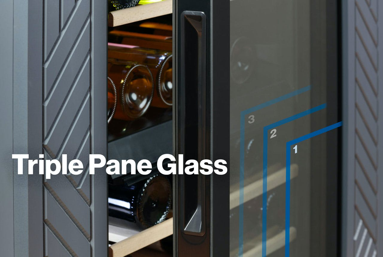 Haier wine center with Triple Pane Glass doors