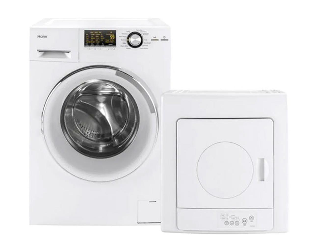 Product support photo of a Haier washer and stackable dryer
