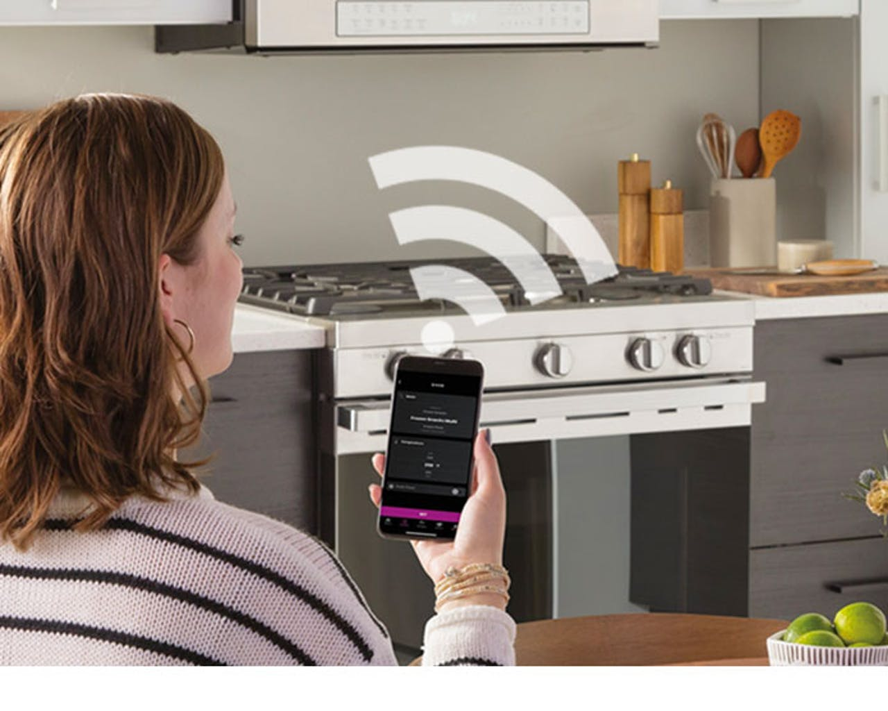 Product support photo of a Haier smart range and microwave in kitchen