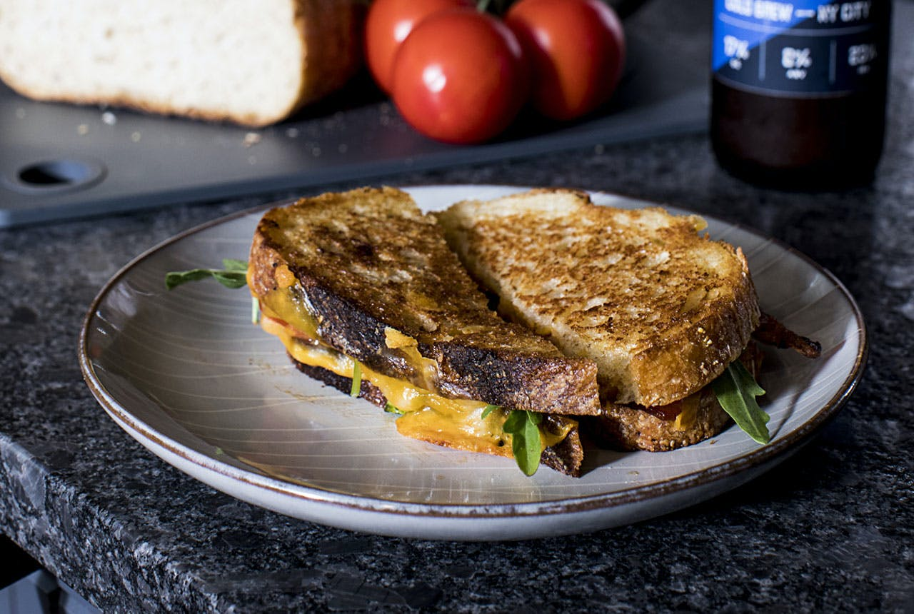 Plated BLT Grilled Cheese sandwich