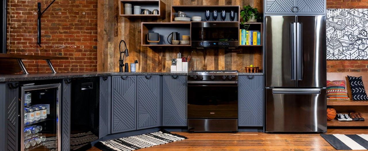 Haier full-size kitchen appliances in a modern loft kitchen.