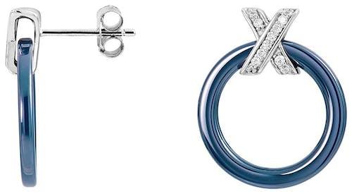 Boucles d'oreilles BLEUE JOAILLERIE Argent 925/1000, Céramique Bleue, Oxyde Blanc