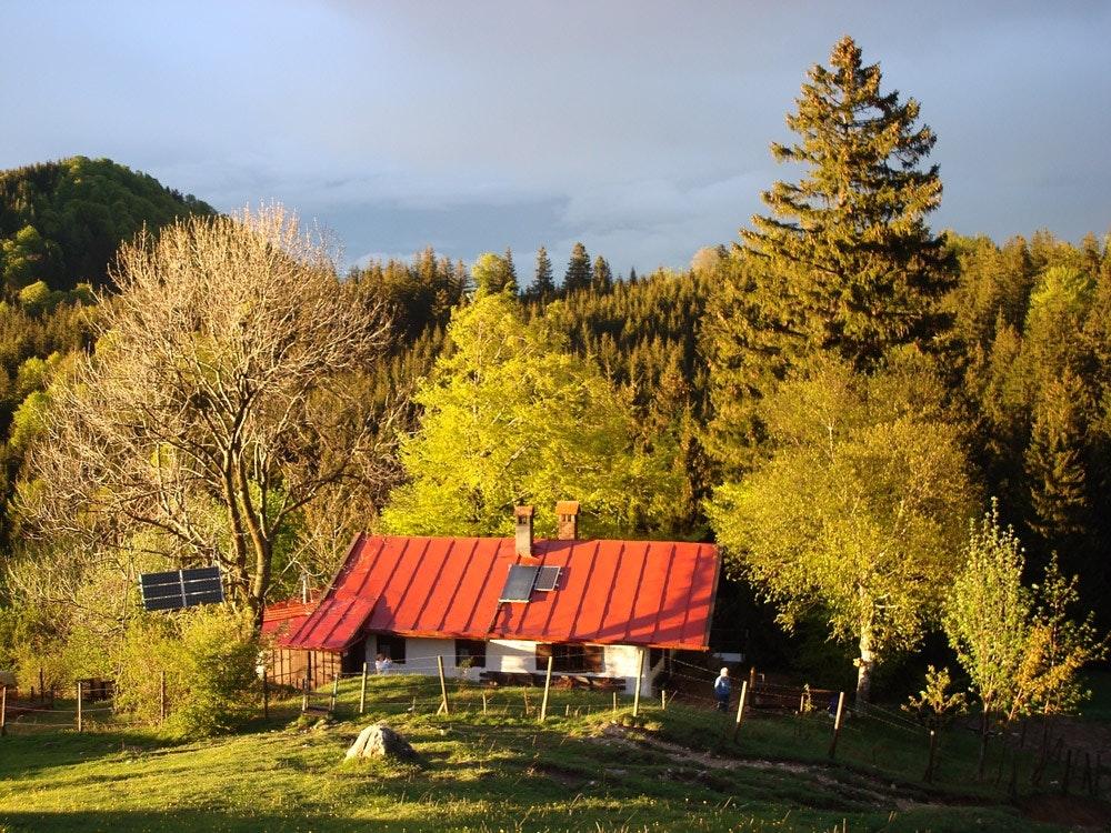 Die Gumpertsbergerhütte. Viel Alm und waldige Gipfel.