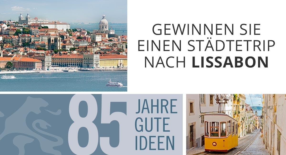 3 Bilder mit einer Stadt, einer Straßenbahn und einer großen 85 in grauer Schrift.