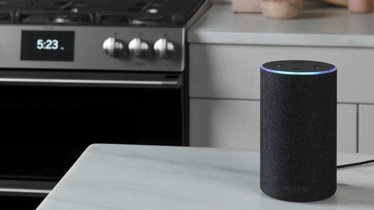 amazon echo on counter with Café range in background