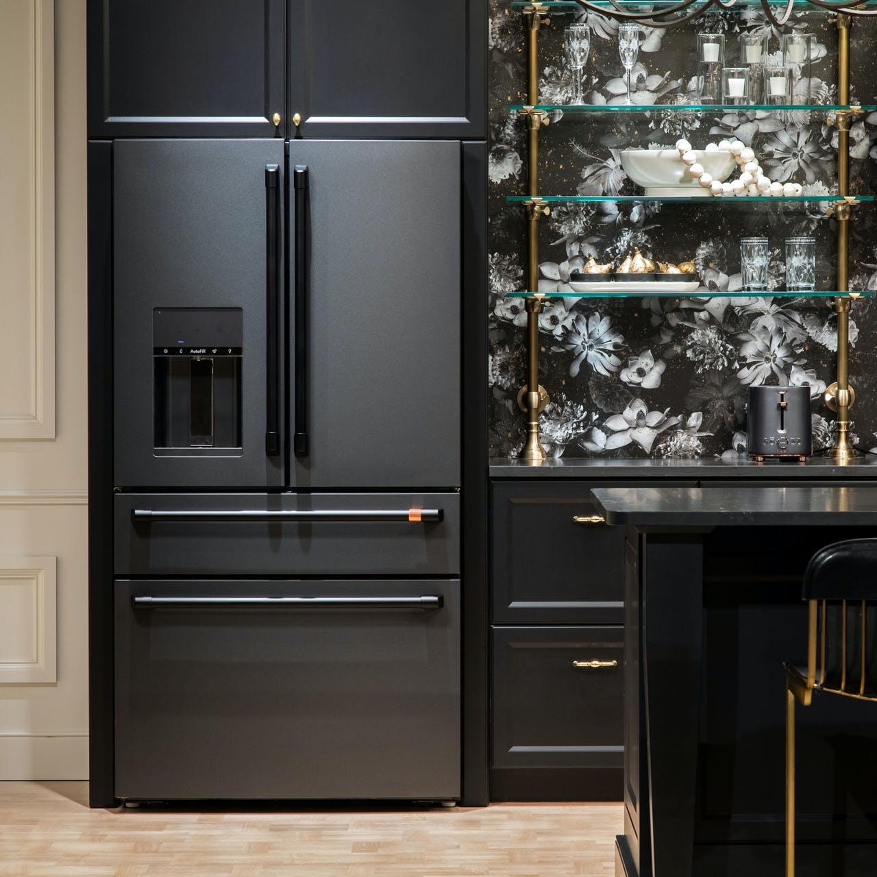 Cafe French Door Refrigerator in Matte Black with Flat Black Hardware