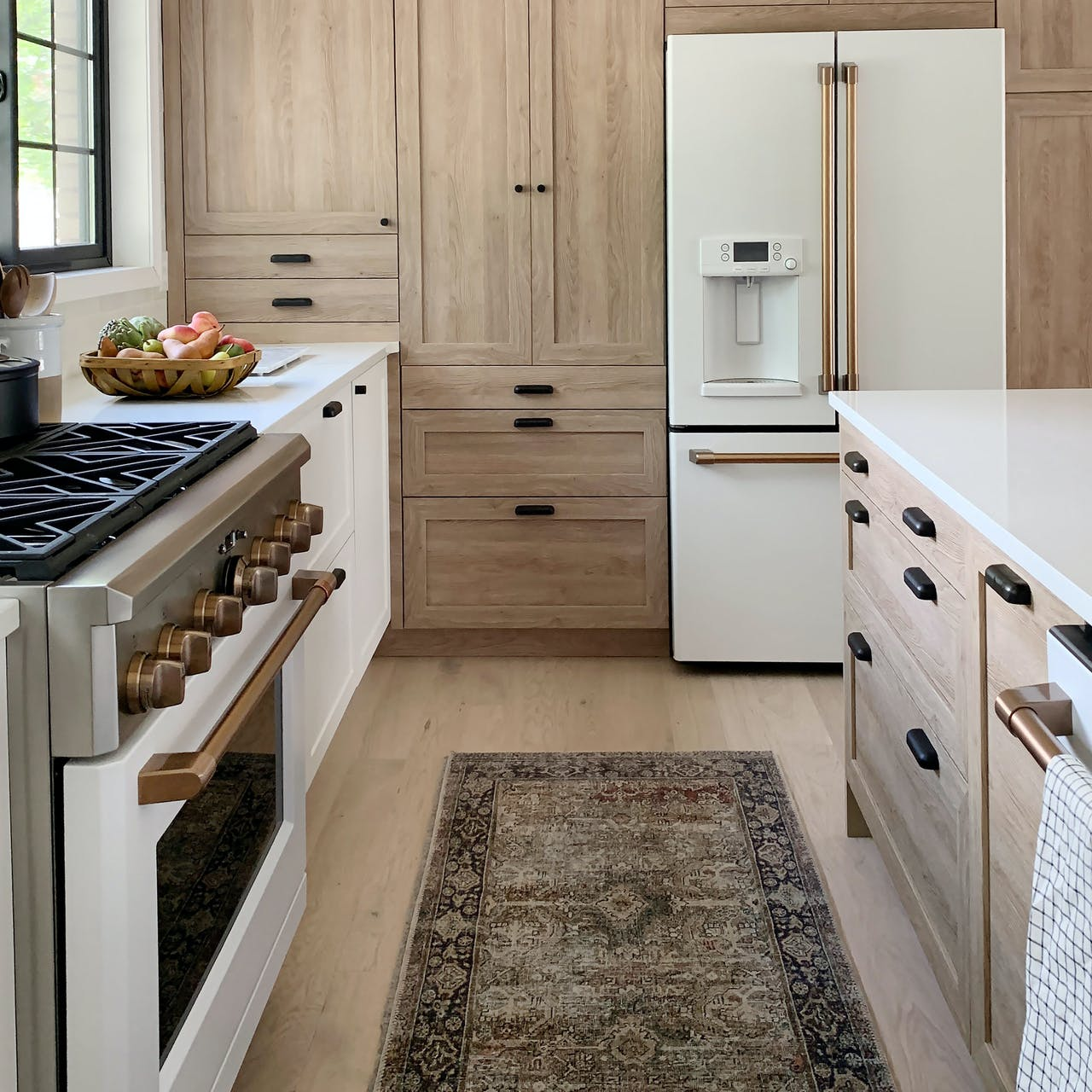 café matte white appliances in semihandmade cabinets