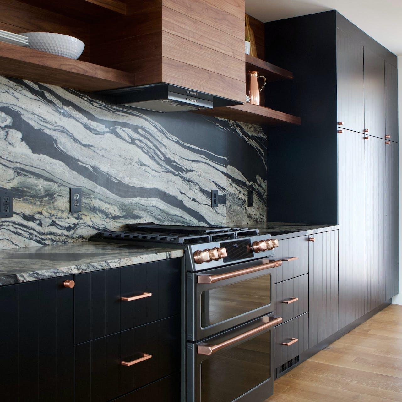 Café matte black appliances in semihandmade cabinets