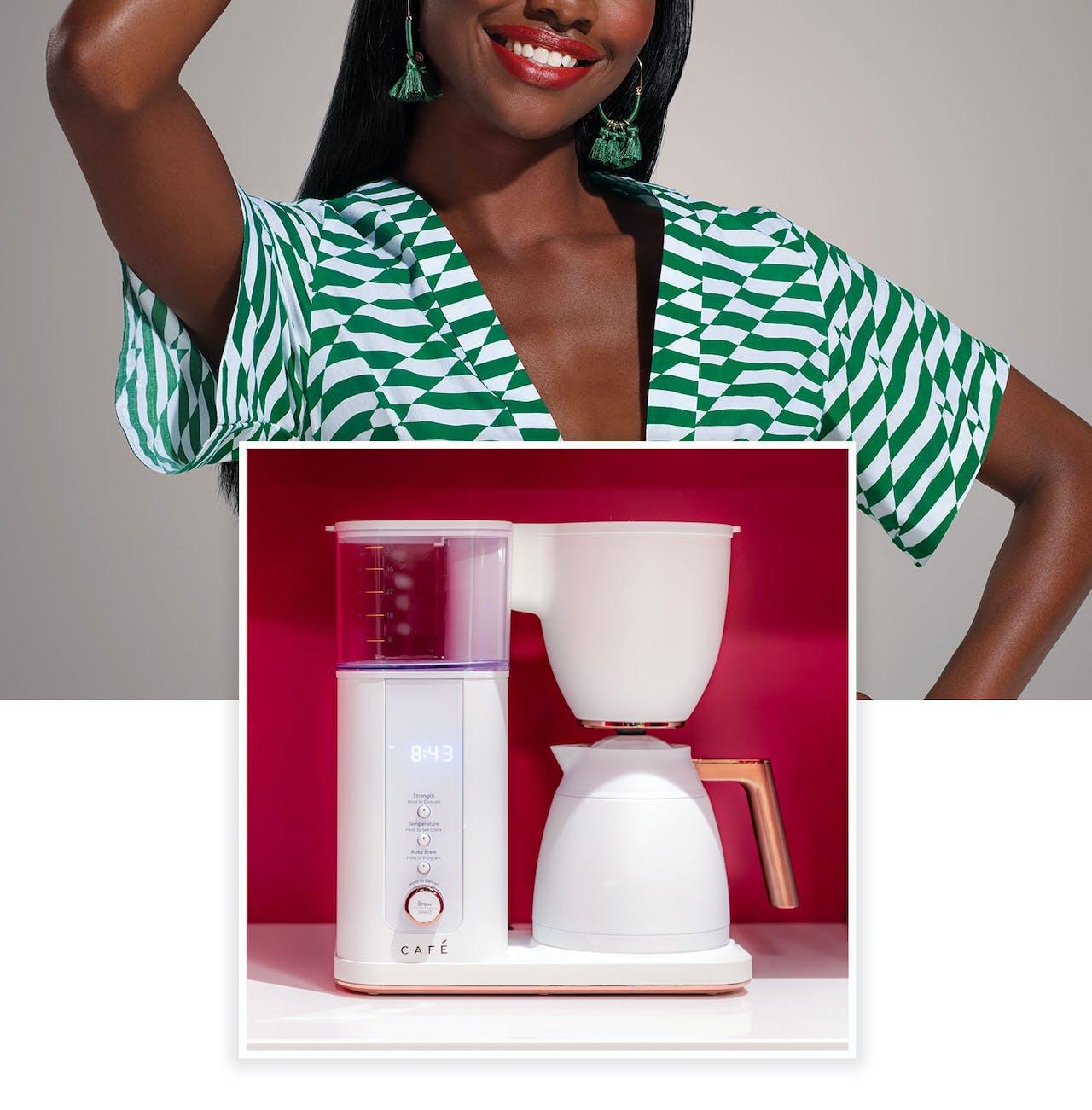 model in background Café Matte white coffeemaker in foreground