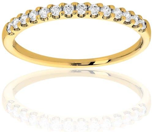 Cette Alliance PROMESSE est en Or 375/1000 Jaune et Diamant Blanc