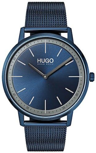 Cette montre HUGO se compose d'un boîtier Rond de 40 mm et d'un bracelet en Maille milanaise Bleue