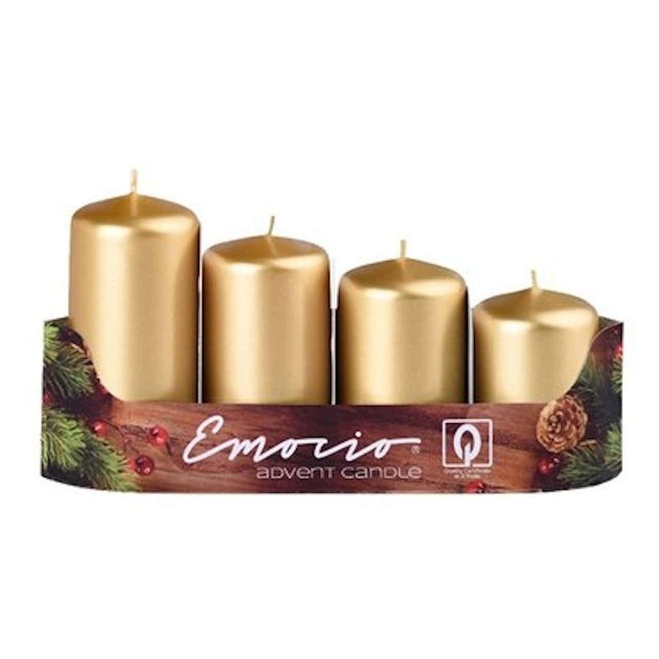 Svíčky adventní stupňovité 4 ks, pr. 40 mm, metalické zlaté