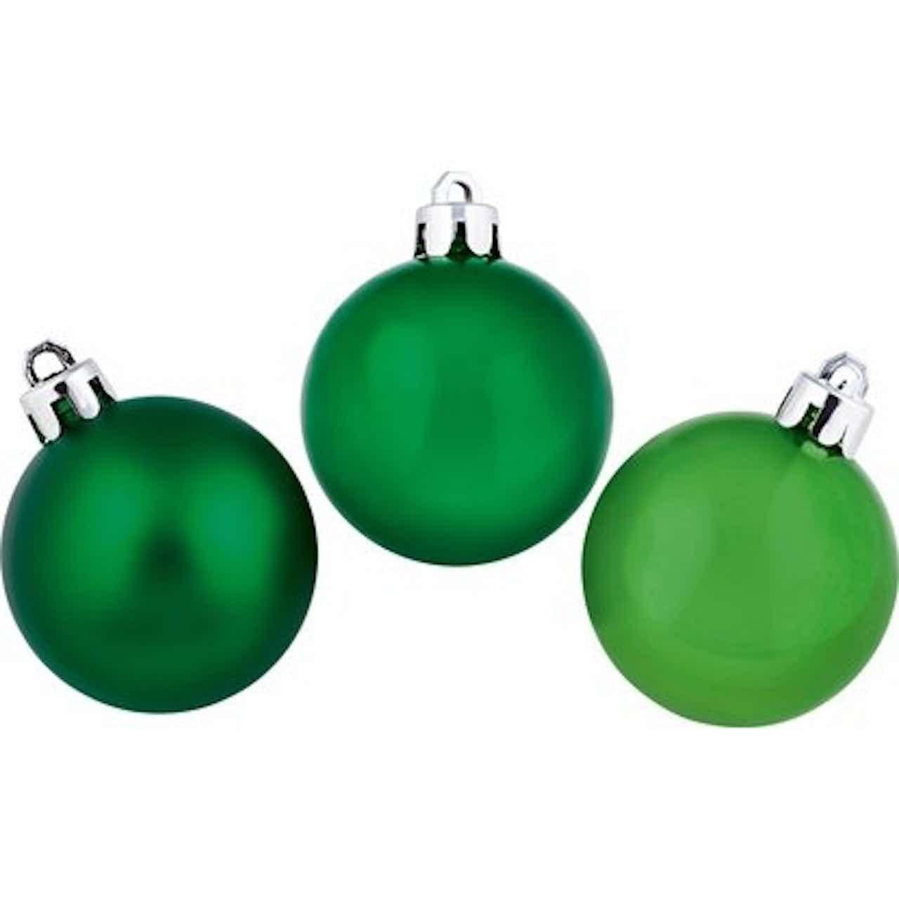Sada vánočních ozdob - koule plastové zelené 5 cm, 8 ks